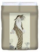 Sable Coat With White Fox Trim Duvet Cover