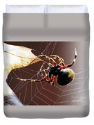 Sac Spider Catches A Leaf Duvet Cover