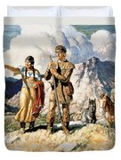 Sacagawea With Lewis And Clark During Their Expedition Of 1804-06 Duvet Cover by Newell Convers Wyeth