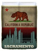 Sacramento City Skyline State Flag Of California Art Poster Series 023 Duvet Cover