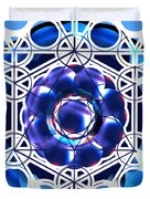 Sacred Geometry Blue Shapes Background Duvet Cover