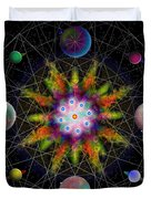 Sacred Planetary Geometry - Dark Red Atom Duvet Cover