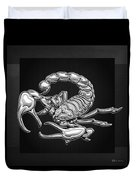 Sacred Silver Scorpion On Black Canvas Duvet Cover