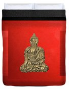 Sacred Symbols - Gold Buddha On Black And Red  Duvet Cover