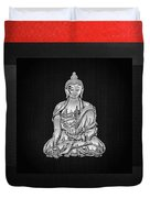 Sacred Symbols - Silver Buddha On Red And Black Duvet Cover
