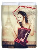 Sad French Pin-up Woman. Loss In The City Of Love Duvet Cover