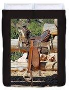 Saddle On Ranch Fence Duvet Cover