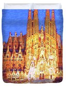 Sagrada Familia At Night Duvet Cover
