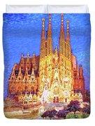 Sagrada Familia At Night Duvet Cover