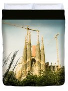 Sagrada Familia With Catalonia's Flag Duvet Cover