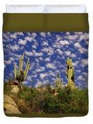 Saguaros Under A Cloud Dappled Sky Duvet Cover