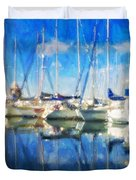 Sail Boats In Port Duvet Cover