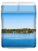 Sailboat And Cottages On Rocky Duvet Cover