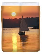 Sailboat And Sunset, South River Duvet Cover