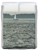 Sailboat And Waves, Piscataqua River, Maine 2004 Duvet Cover