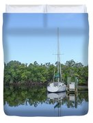 Sailboat At Dock Florida Duvet Cover