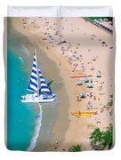 Sailboat At Waikiki Duvet Cover