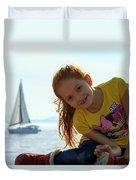 Sailboat Girl Duvet Cover