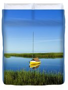 Sailboat In Cape Cod Bay Duvet Cover