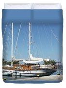 Sailboat In Harbor Summer Vacation Scene Duvet Cover