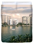 Sailboat In Miami Beach Florida Duvet Cover