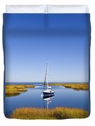Sailboat In Salt Marsh Duvet Cover