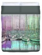 Sailboat Lineup - Watercolor Duvet Cover