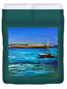 Sailboat Off Karpathos Greece Greek Islands Sailing Duvet Cover