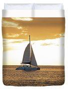 Sailboat Sailing Off Of Anse Chastanet At Sunset Saint Lucia Caribbean  Duvet Cover