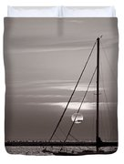 Sailboat Sunrise In B And W Duvet Cover