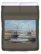 Sailboats At Low Tide Near Nelson, New Zealand Duvet Cover