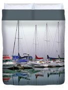 Sailboats In The Fog Duvet Cover