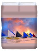 Sailboats On Boracay Island Duvet Cover