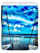 Sailboats Watching Weather Duvet Cover