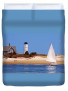 Sailing Around Sandy Neck Lighthouse Duvet Cover