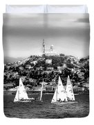 Sailing Boat  Black-and-white Duvet Cover