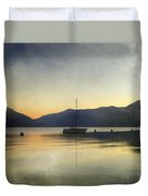 Sailing Boat In The Sunset Duvet Cover by Joana Kruse