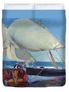 Sailing Boats Duvet Cover by Joaquin Sorolla y Bastida