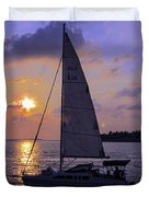 Sailing Home Sunset In Key West Duvet Cover