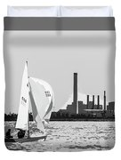 Sailing In Black And White Duvet Cover