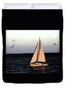 Sailing Off Of Diamond Head Duvet Cover