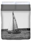 Sailing On Lake Murray S C Black And White Duvet Cover