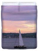 Sailing On Puget Sound At Sunset Duvet Cover