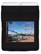 Sailing Ship At Galveston Duvet Cover