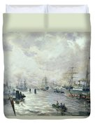 Sailing Ships In The Port Of Hamburg Duvet Cover