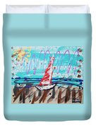 Sailing The Coast Abstract Duvet Cover