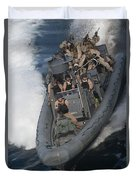 Sailors Operate A Rigid-hull Inflatable Duvet Cover