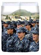 Sailors Yell Before An All-hands Call Duvet Cover