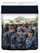 Sailors Yell Before An All-hands Call Duvet Cover by Stocktrek Images