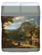 Saint Anthony Of Padua Introducing Two Novices To Friars In A Mountainous Landscape Duvet Cover